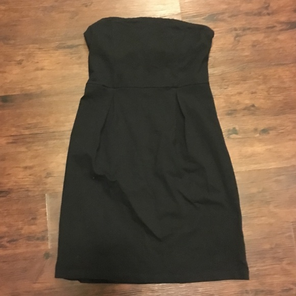 Black Strapless Cotton Dress